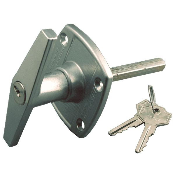 Birtley Front Fix Garage Lock Door T Handle Silver
