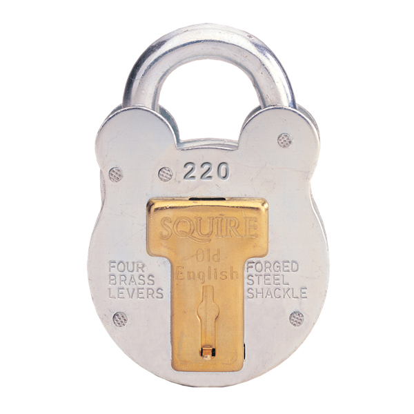 Squire Old English 220 Zinc Plated 4 Lever Padlock 38mm