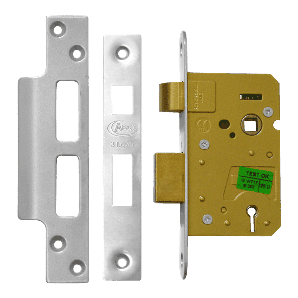 Asec 3 Lever Sashlock 64mm Stainless Steel