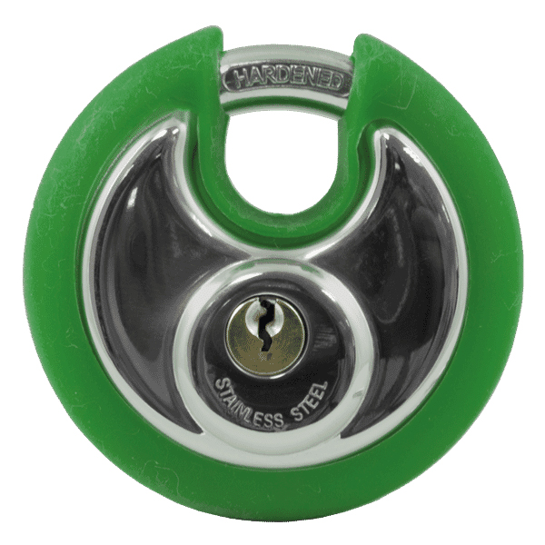 Asec Coloured Bumper Discus Padlock - Green