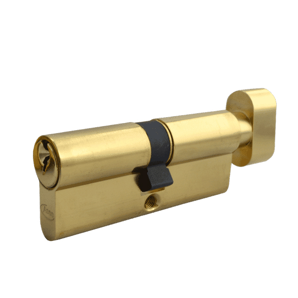 Asec 5 Pin Key and Turn Euro Cylinder 80mm 40/40 Polished Brass
