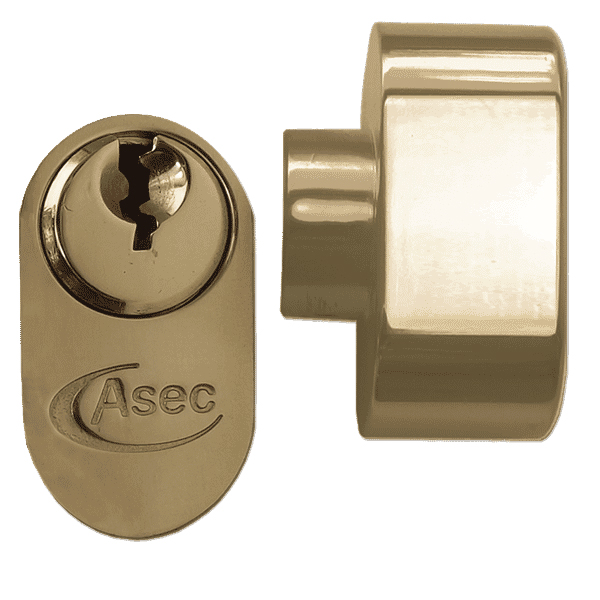 Asec 5 Pin Key and Turn Oval Cylinder 70mm 35/35 Polished Brass
