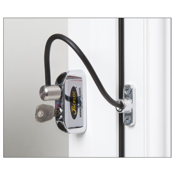 Jackloc Safety Cable Window Restrictor with Key Child Safety Chrome Body with Black Cable