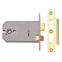 Union 2026 Horizontal Bathroom Mortice Lock 152mm Polished brass