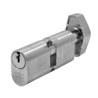 Union 2X13 Oval Key and Turn Cylinder - 65mm - Satin Chrome