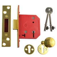 Union 2101 5 Lever Dead lock 64mm Polished Brass
