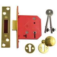 Union 2101 5 Lever Dead Lock 76mm Polished Brass
