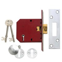 Union 2401 5 Lever Clawbolt Sliding Door Lock 78mm Satin Chrome