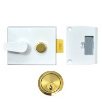 Union 1028 Nightlatch 92mm White Case Brass Cylinder