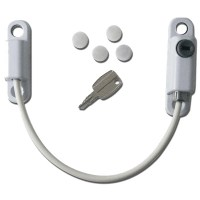 Asec Lockable Cable Window Restrictor - White