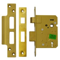 Asec 3 Lever Sashlock 76mm Polished brass