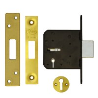 Asec 3 Lever Dead lock 76mm Polished brass