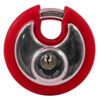 Asec Coloured Bumper Discus Padlock - Red