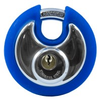 Asec Coloured Bumper Discus Padlock - Blue