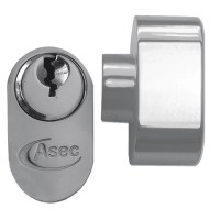 Asec 5 Pin Key and Turn Oval Cylinder 70mm 35/35 Nickel Plated