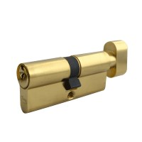 Asec 5 Pin Key and Turn Euro Cylinder 70mm 35/35 Polished Brass