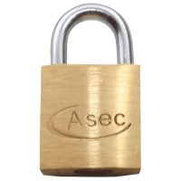 Asec Standard Shackle 3 Pin Brass Padlock Keyed Alike 20mm