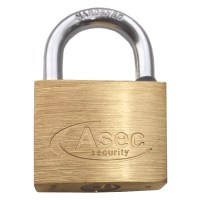 Asec Standard Shackle 5 Pin Brass Padlock Keyed Alike 40mm Cut J