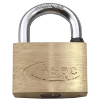 Asec Standard Shackle 5 Pin Brass Padlock Keyed Alike 50mm Cut O