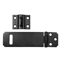 Asec Pressed Steel Safety Hasp and Staple 115mm in Black
