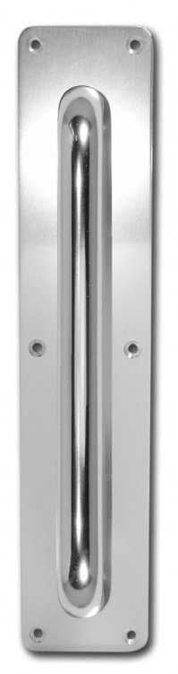 Asec Screw Fix Pull Door Handle on Plate Polished Aluminium 63 x 300mm