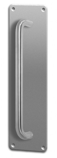 Asec Screw Fix Pull Door Handle on Plate Stainless Steel 75 x 300mm