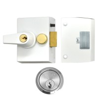 Union 1097 Nightlatch 65mm White Case Satin chrome Cylinder