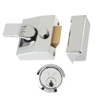 Yale 85 Cylinder Nightlatch 62mm Chrome Plated Case Chrome Plated Cylinder