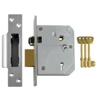 Chubb - Union 3K74E 5 Lever BS3621:2007 Sashlock 80mm Satin Chrome