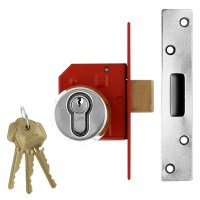 Union 212441E BS:3621 Euro Cylinder Mortice Dead Lock 67mm Satin Chrome