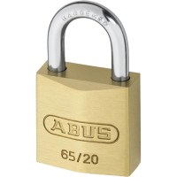 ABUS 65/20 Brass Body Open Shackle 4 Pin Padlock 20mm Twin Pack