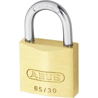 ABUS 65/30 Brass Body Open Shackle 4 Pin Padlock 30mm Twin Pack