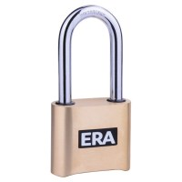 ERA Brass Body Padlock High Security Combination Long Shackle 50mm