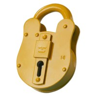 Fire Brigade FB14 Padlock 4 Lever Yellow