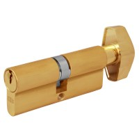 Union 2x19 5 Pin Euro Key and Turn Cylinder 74mm Brass