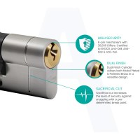 Asec Vital Snap Resistant 6 Pin Euro Key and Turn Cylinders