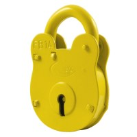 Asec FB14 Fire Brigade Padlock 4 Lever Old English Style - Yellow