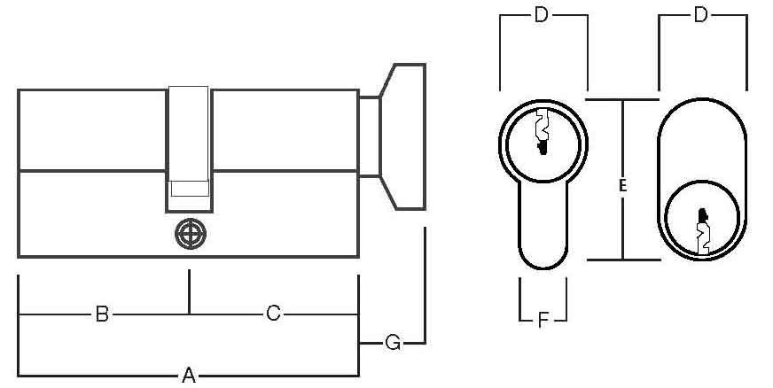 Asec 5 Pin Euro Key And Turn Cylinder Www Locktrader Co Uk